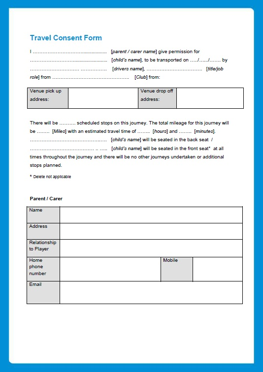 10 Free Sample Travel Consent Form Printable Samples – Travel Consent Form Template