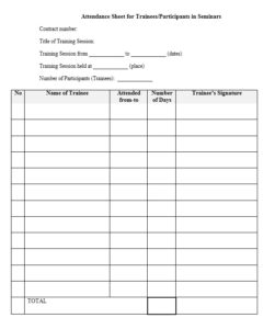 Training Attendance Sheet Template 10