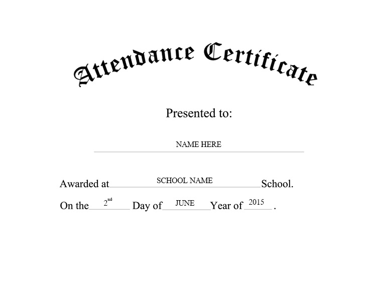 13 Free Sample Perfect Attendance Certificate Templates – Attendance Certificates Printable