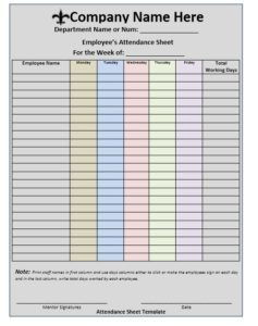 Training Attendance Sheet Template 05