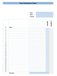 Training Attendance Sheet Template 06
