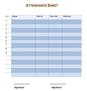 Training Attendance Sheet Template 07
