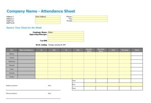 Training Attendance Sheet Template 11