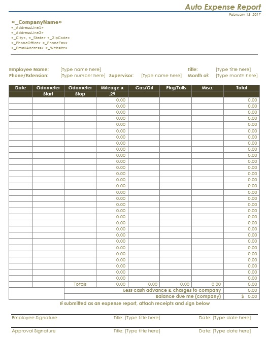 13 Free Sample Auto Expense Report Templates Printable Samples