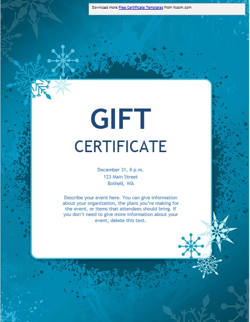 Christmas Gift Certificate Template.11 Free Sample Christmas Gift Certificate Templates