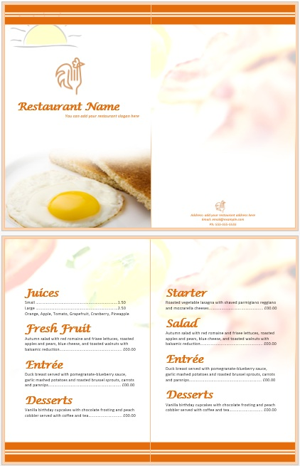 11 Free Sample Breakfast Menu Templates Printable Samples – Breakfast Menu Template