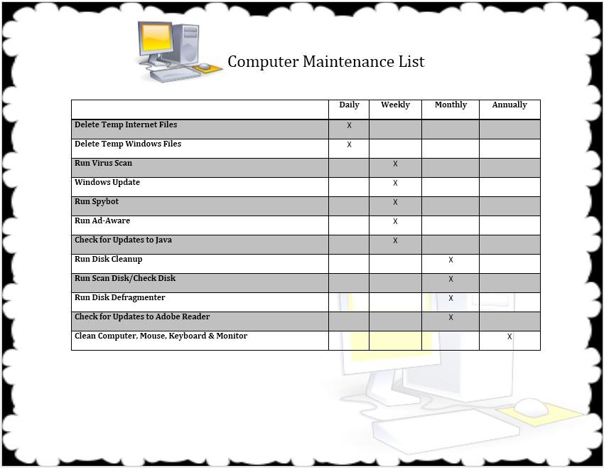 12 Free Sample Computer Maintenance List Templates Printable Samples
