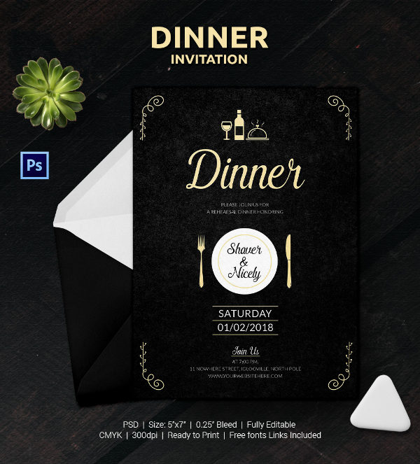 12 Free Sample Dinner Invitation Card Templates Printable