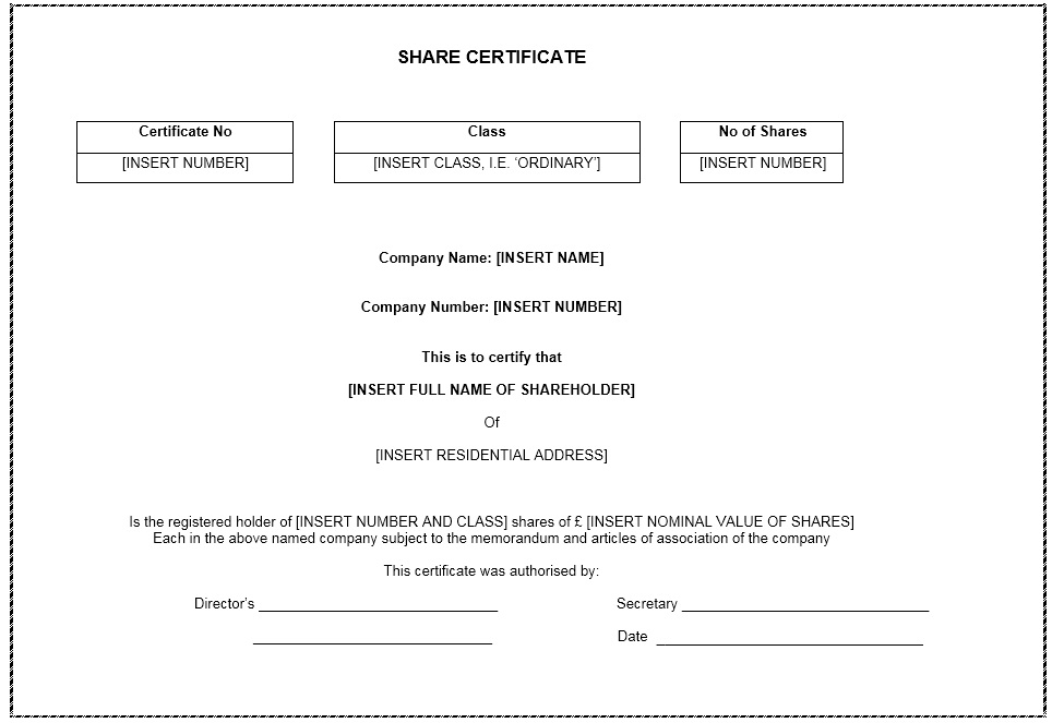12 Free Sample Shares Certificate Templates Printable Samples – Template Shares