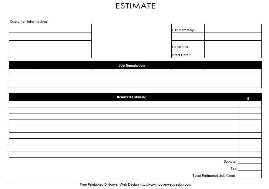 This is a picture of Epic Printable Estimate Forms