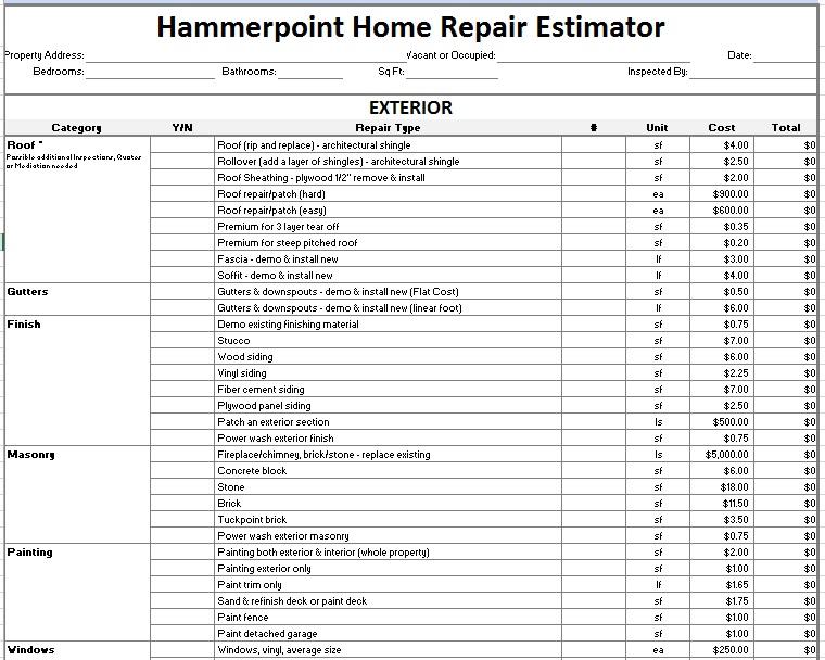 12 Free Sample Home Repair Estimate Templates Printable Samples