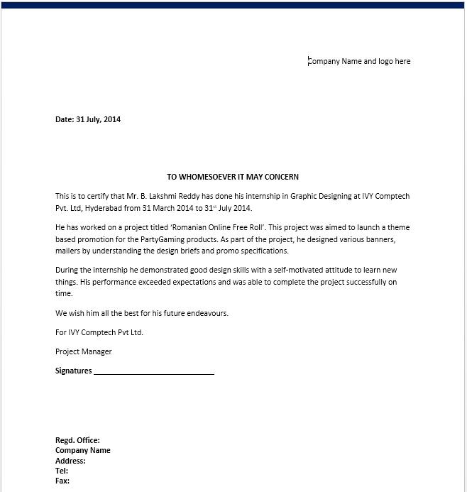 End Of Internship Letter from www.printablesample.com