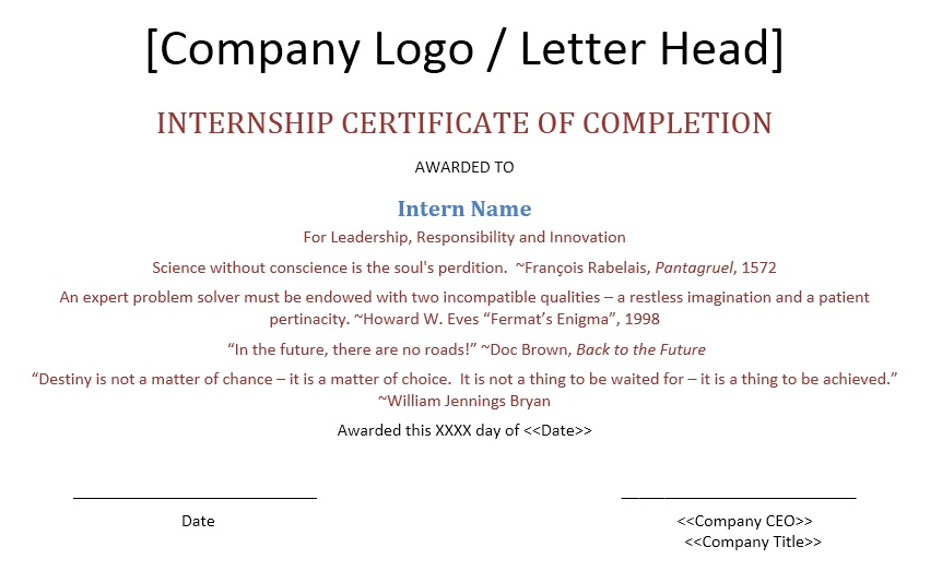 Internship certificate on finance.