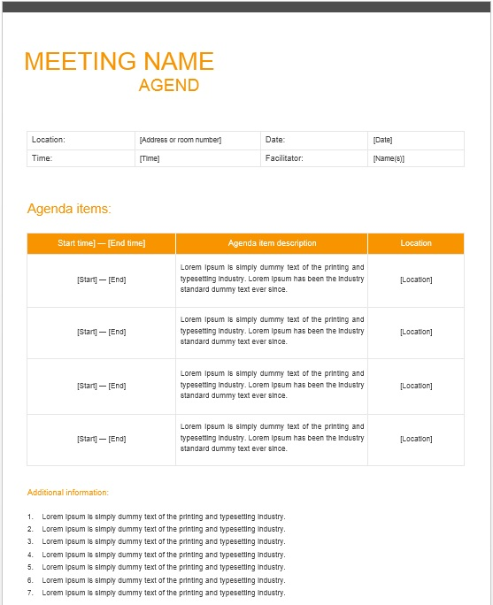 13 Free Sample Office Meeting Agenda Templates Printable Samples