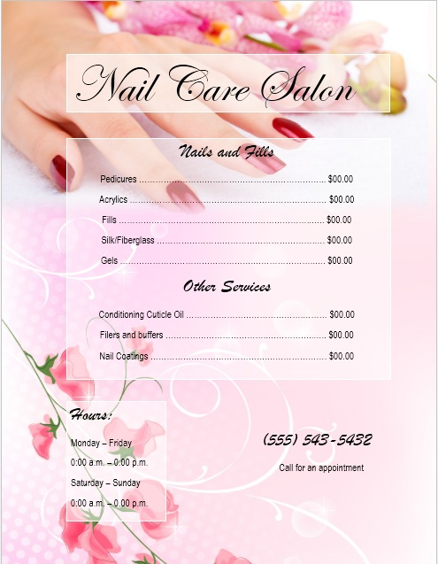 8 Free Sample Nail Services Salon Price List Templates Printable – Sample Price List Template