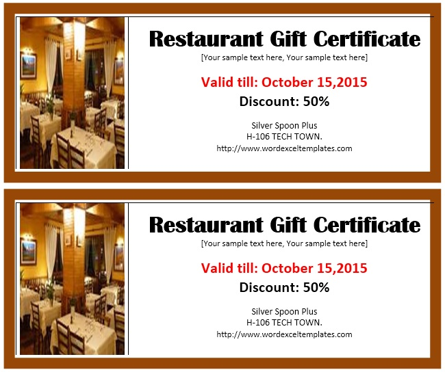photo regarding Printable Restaurant Gift Cards identify No cost Printable Cafe Reward Certificates - Present Strategies