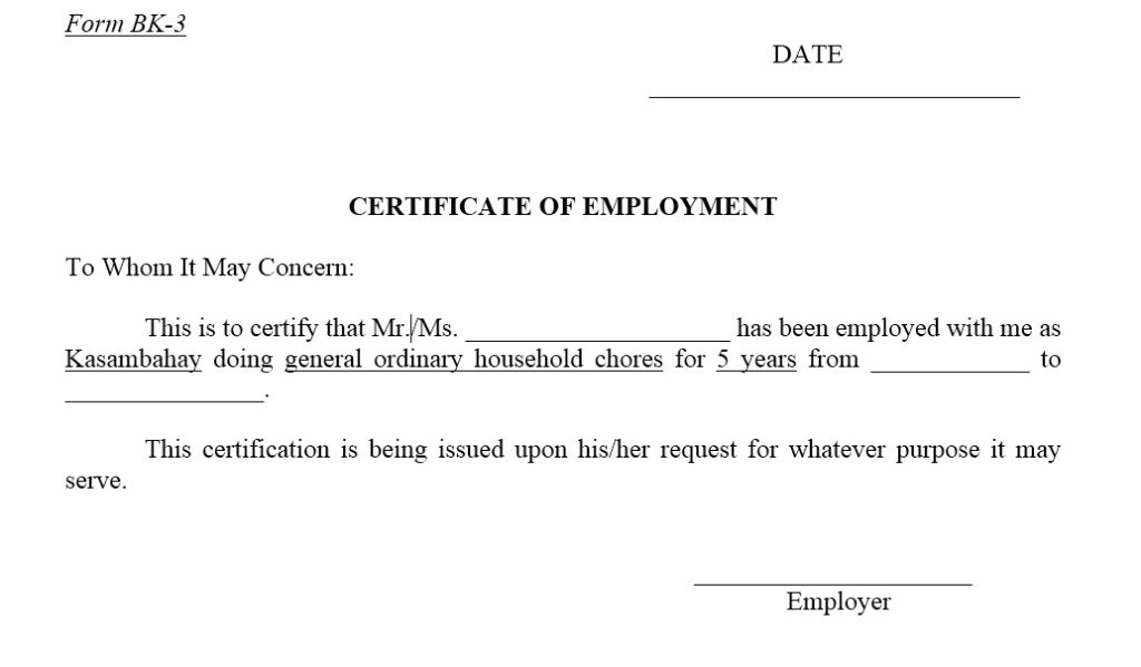 12 Free Sample Employment Certificate Templates Printable Samples