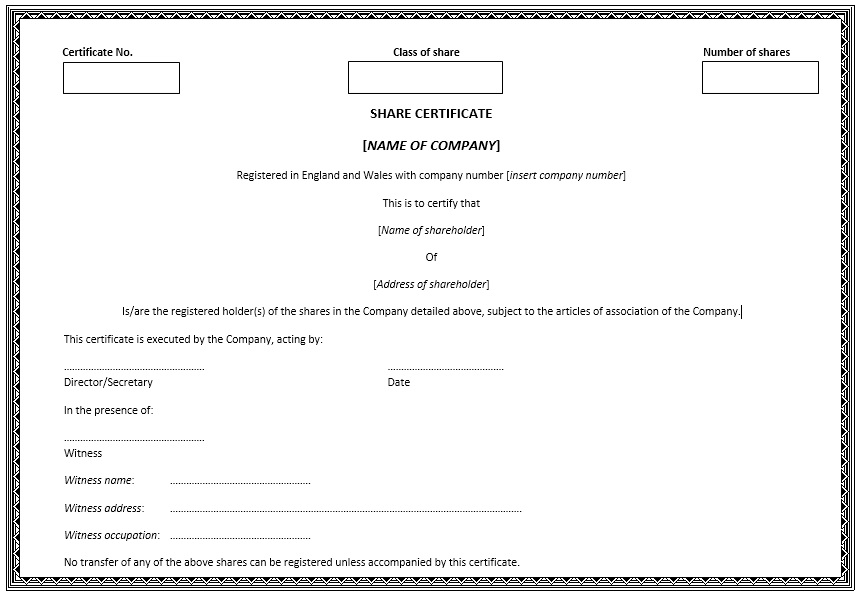 Printable Stock Shares Certificate