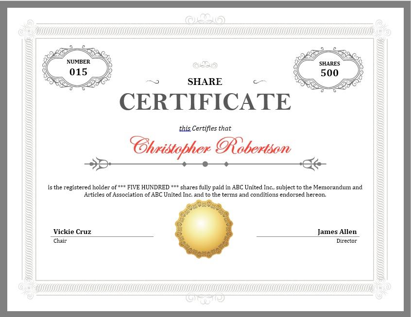 Stock Shares Certificate Sample