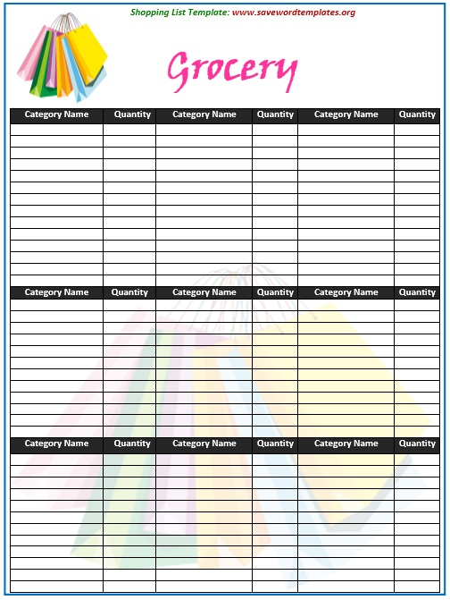 Coupon Shopping List Template Vosvetenet – Grocery List Word