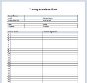 Training Attendance Sheet Template 09