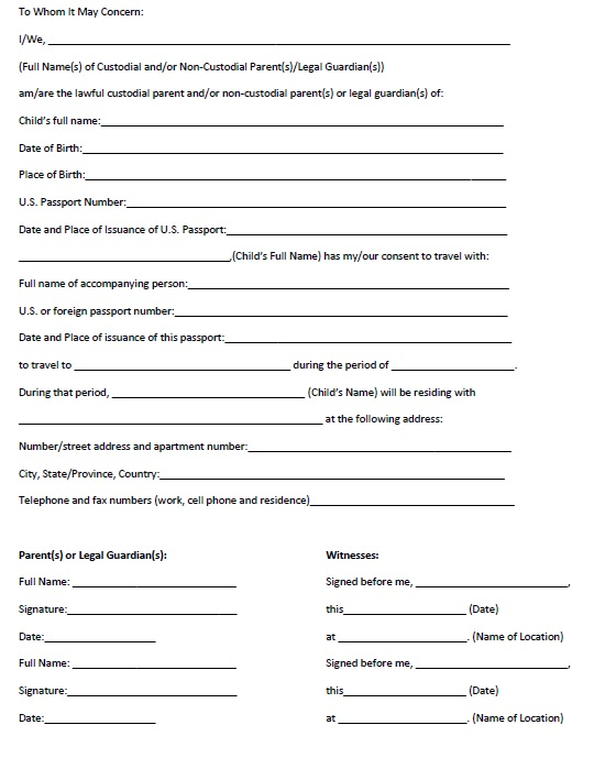10 Free Sample Travel Consent Form Printable Samples – Passport Consent Forms