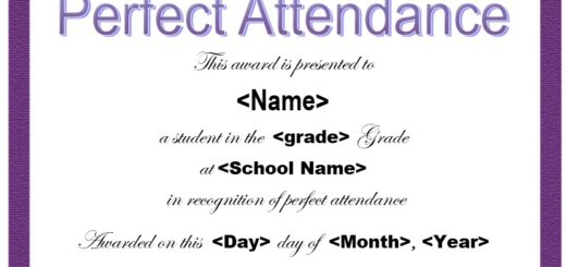 Doc960720 Perfect Attendance Certificate Template Perfect – Attendance Certificates Printable