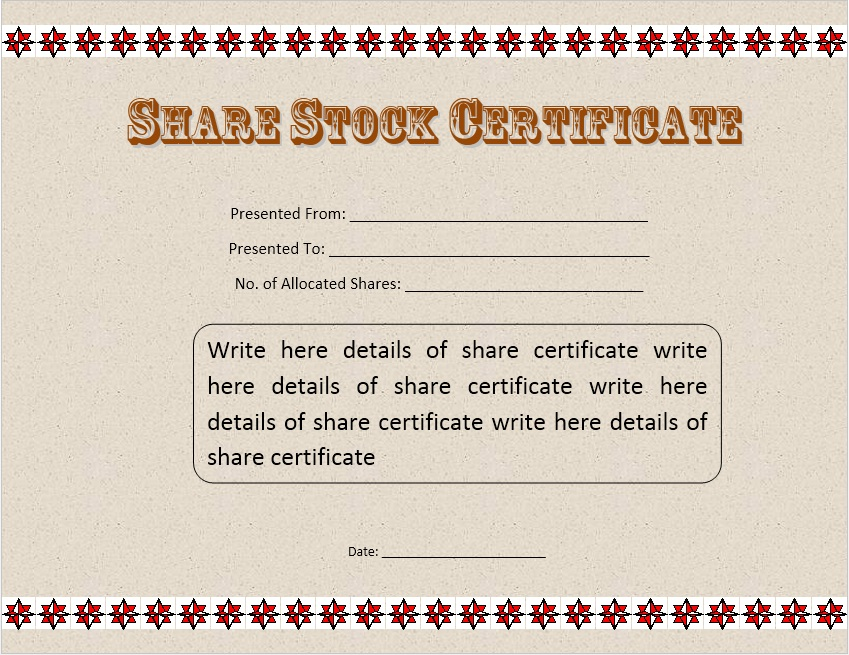 Printable Samples  Printable Stock Certificates