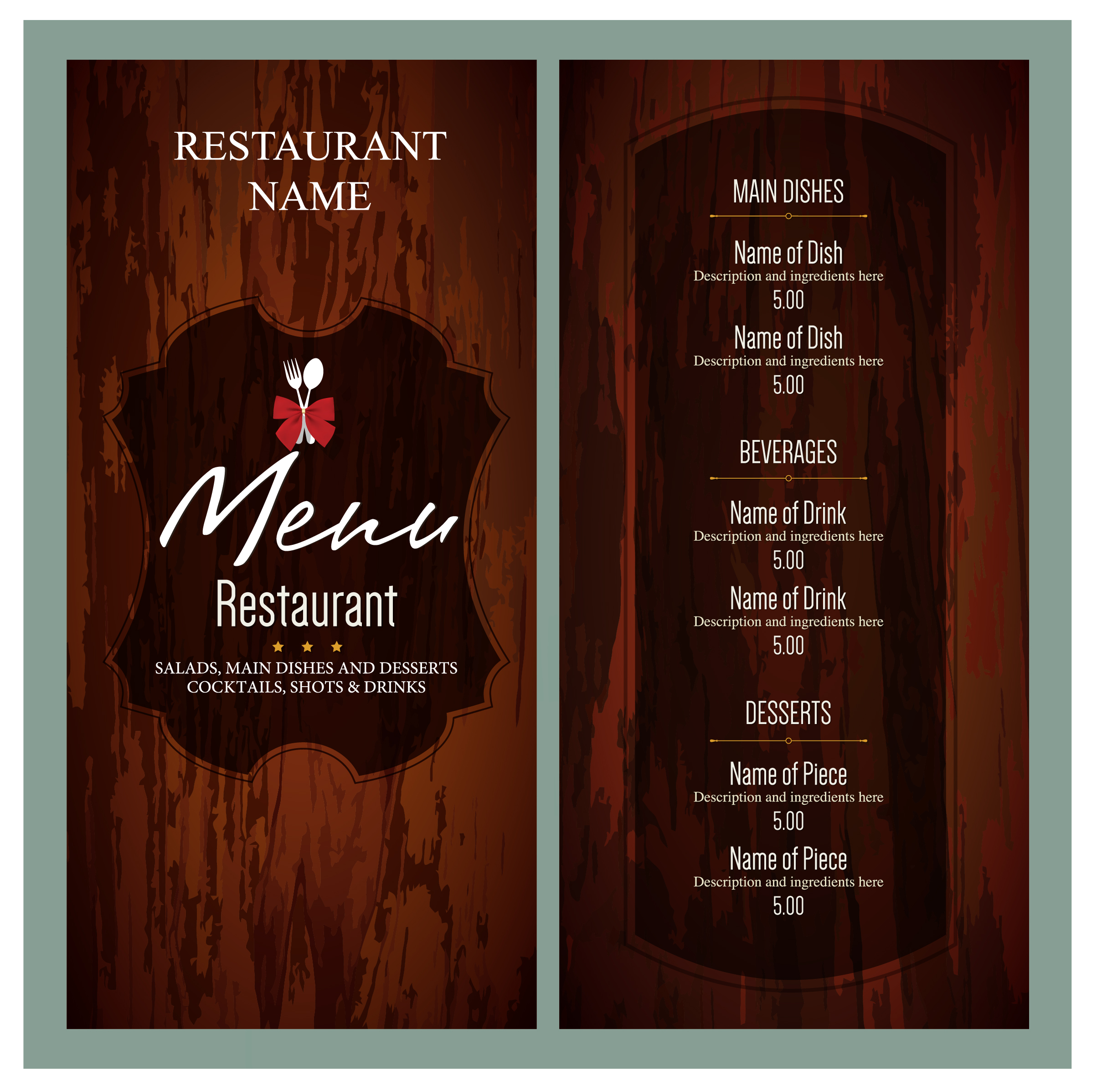 a4 menu templates and designs from imenupro free printable menu