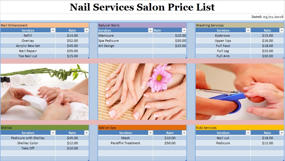 Sample Nail Services Salon Price List