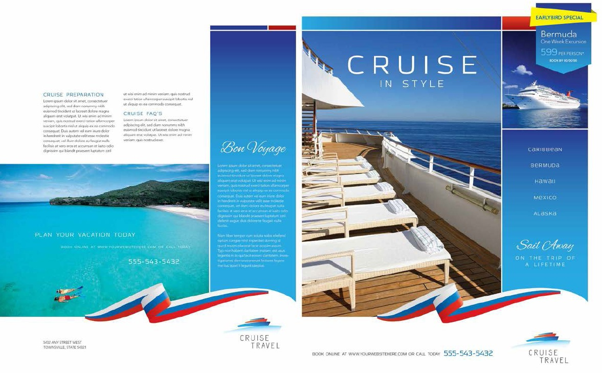 11 free sample travel brochure templates printable samples for Cruise brochure template