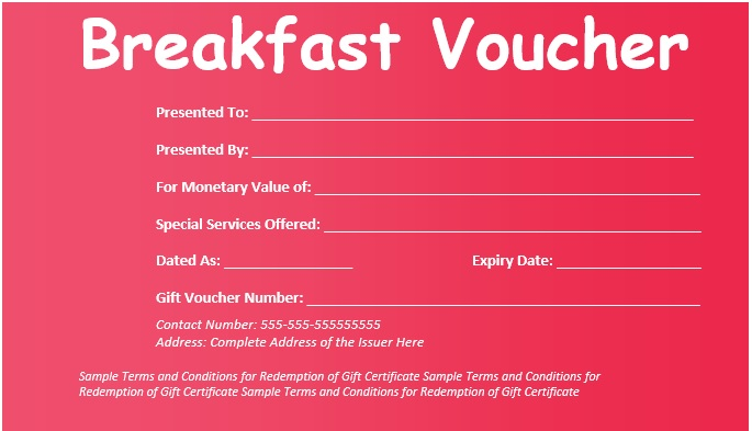 8 Free Sample Breakfast Voucher Templates Printable Samples – Voucher Templates Word