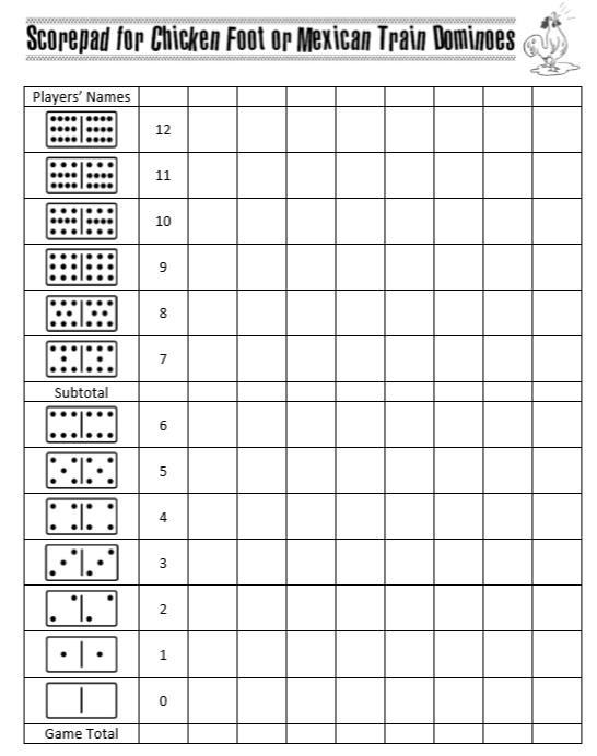 4 Free Sample Mexican Train Score Sheet Templates Printable Samples – Hand and Foot Score Sheet Template