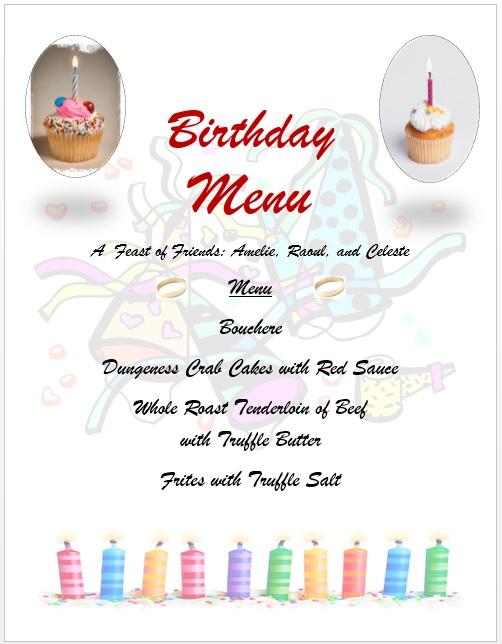 7 Free Sample Birthday Menu Templates Printable Samples – Sample Menu Template
