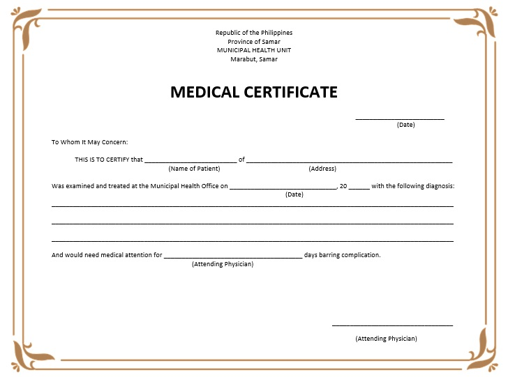 8 free sample medical certificate templates