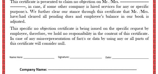 Doc600730 No Objection Certificate Template No Objection – Letter of No Objection Template