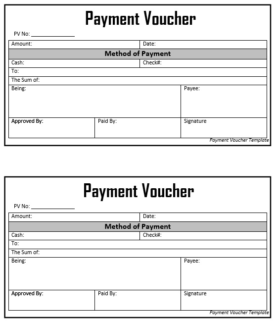 8 Free Sample Cash Voucher Templates Printable Samples – Sample Payment Voucher Template