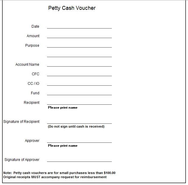 8 Free Sample Petty Cash Voucher Templates Printable Samples – Petty Cash Slips Template