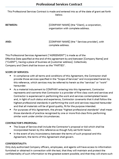 11 Free Sample Professional IT Service Agreement Templates – IT Service Agreement Template
