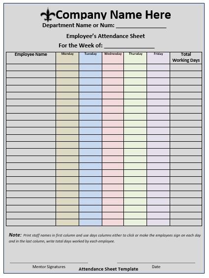 11 Free Sample School Attendance Sheet Templates ...
