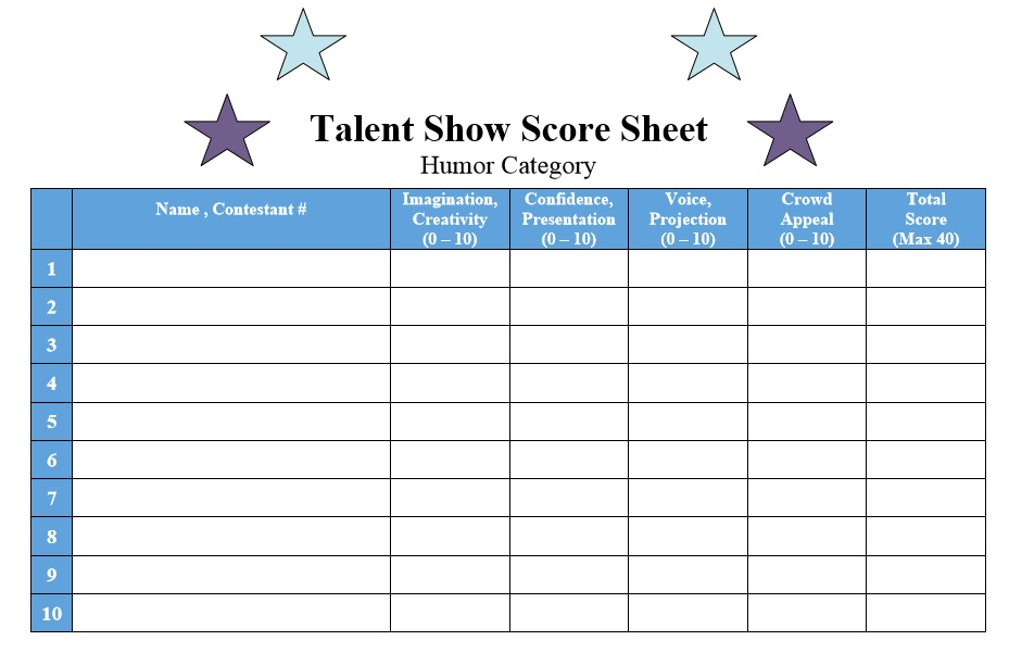 8 Free Sample Talent Show Score Sheet Templates Samples – Sample Talent Show Score Sheet