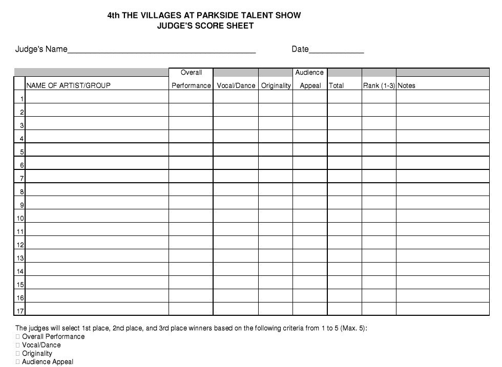 8 Free Sample Talent Show Score Sheet Templates Samples – Talent Show Score Sheet