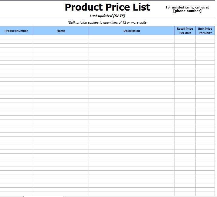 10 Free Sample Wholesale Price List Templates Printable Samples – Excel Price List Template