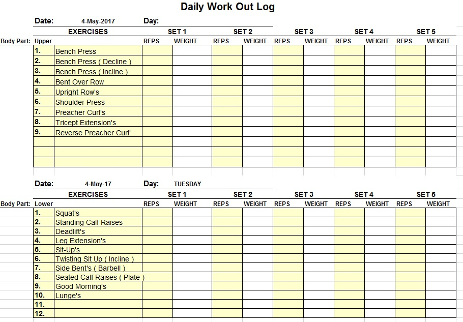11 Free Sample Workout Log Templates - Printable Samples