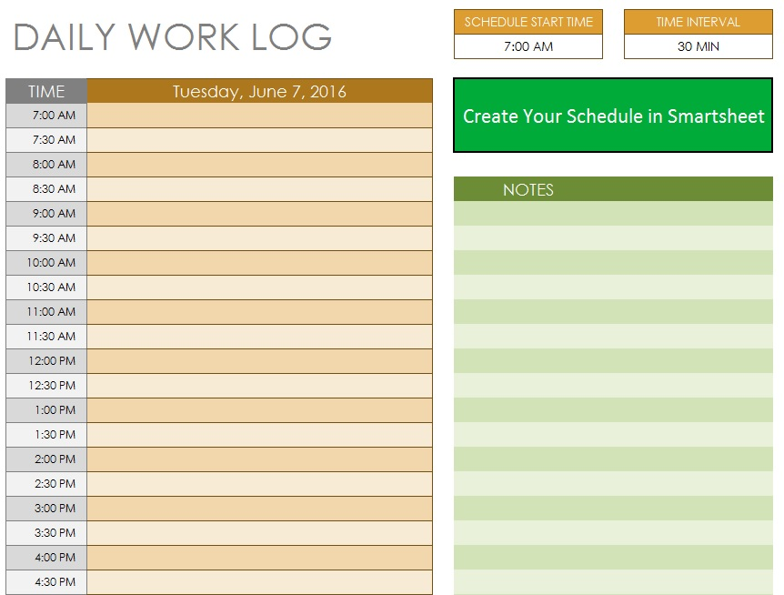 10 free sample daily log templates printable samples pronofoot35fo Gallery