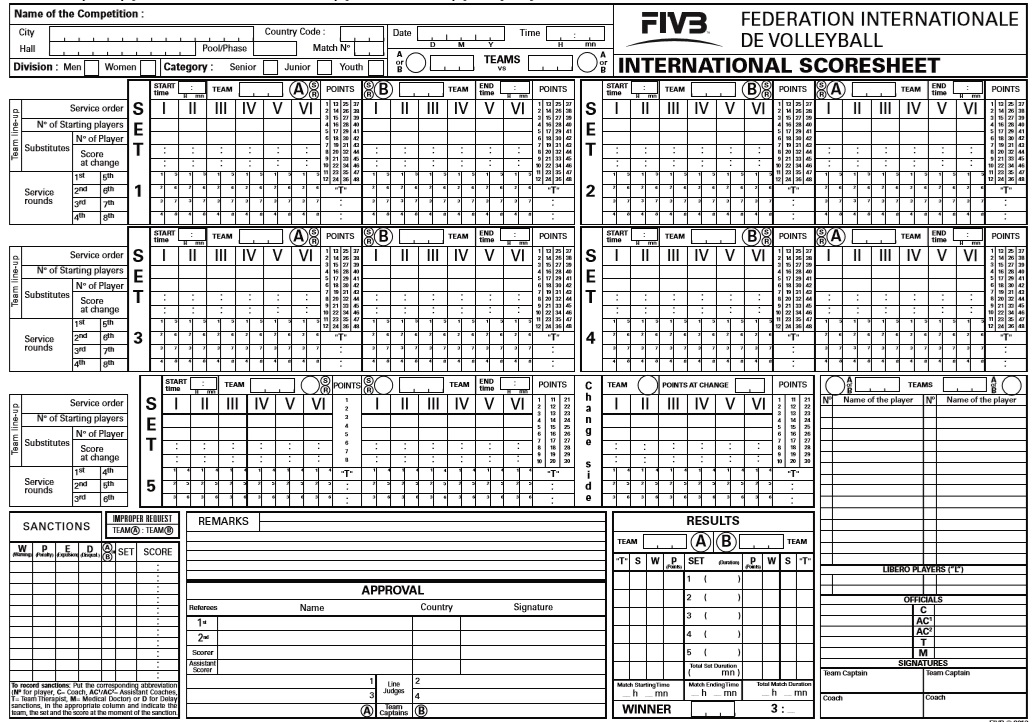 100+ [ Volleyball Score Sheet Template Free ] | Printable Bowling .