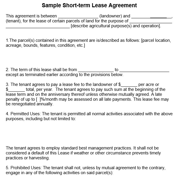 12 Free Sample Professional Farm Land Lease Agreement