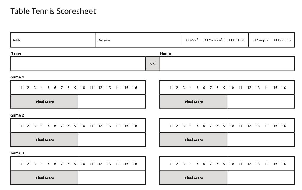 9 Free Sample Tennis Score Sheet Templates Samples Printable – Sample Tennis Score Sheet Template