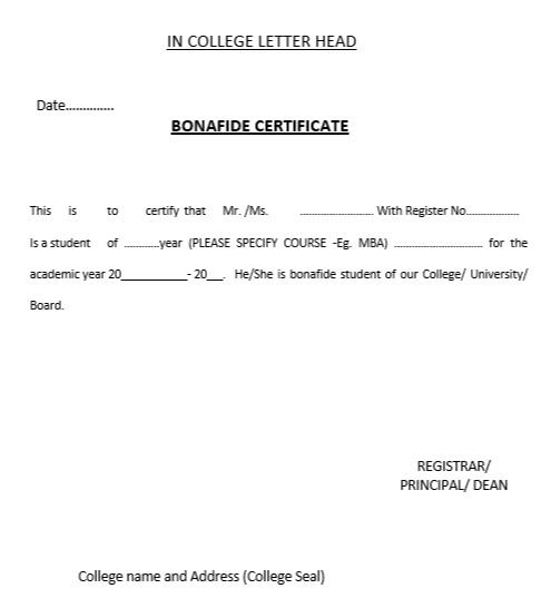 Sample Application Letter For Bonafide Certificate From School