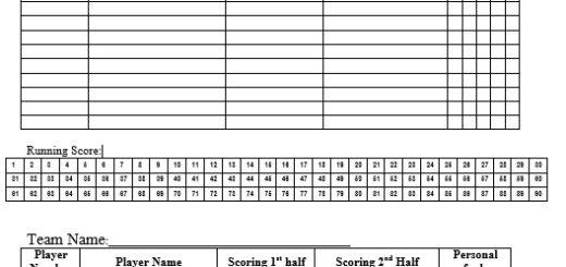 Sample Score Sheets Printable Samples – Basketball Score Sheet Template
